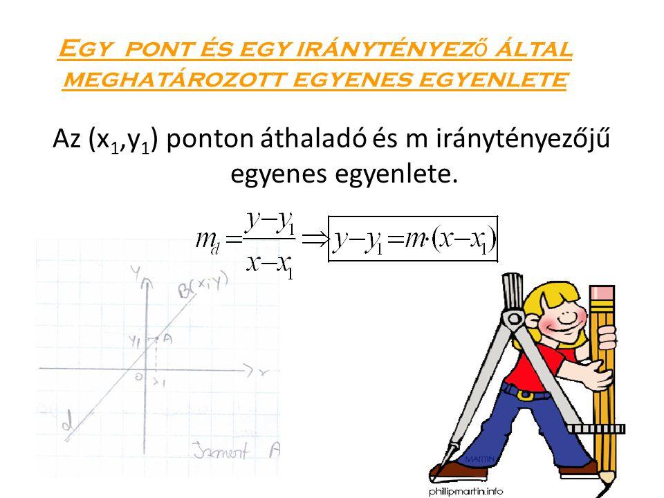 Egy pont és egy iránytényez ő által meghatározott egyenes egyenlete Az (x 1,y 1 ) ponton áthaladó és m iránytényezőjű egyenes egyenlete.