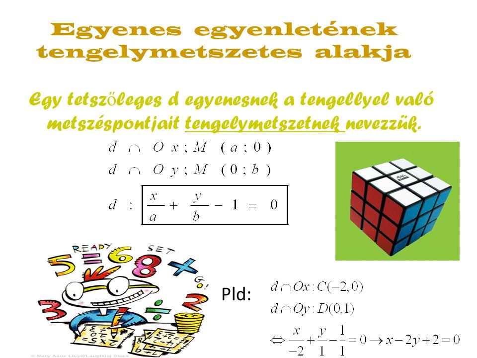 Egyenes egyenletének tengelymetszetes alakja Egy tetsz ő leges d egyenesnek a tengellyel való metszéspontjait tengelymetszetnek nevezzük. Pld: