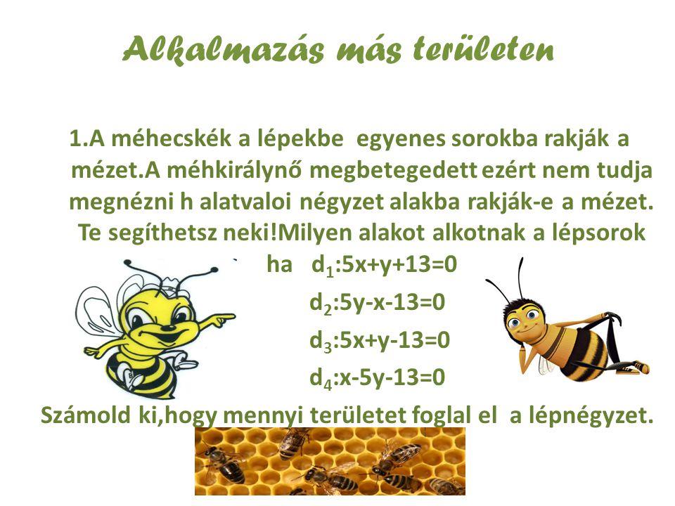 Alkalmazás más területen 1.A méhecskék a lépekbe egyenes sorokba rakják a mézet.A méhkirálynő megbetegedett ezért nem tudja megnézni h alatvaloi négyz