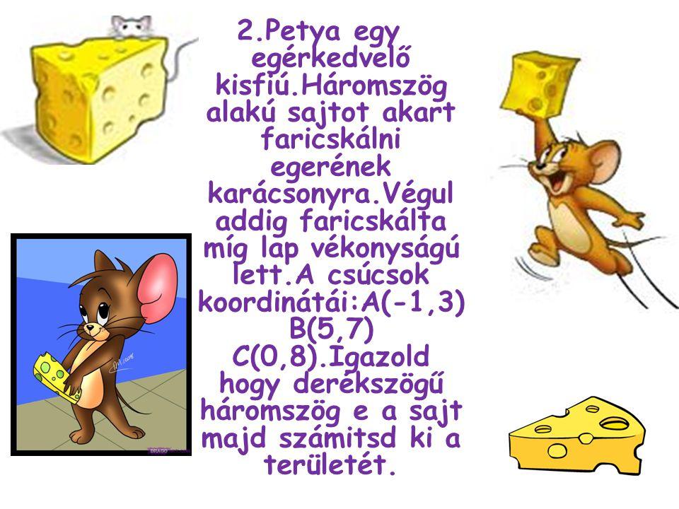 2.Petya egy egérkedvelő kisfiú.Háromszög alakú sajtot akart faricskálni egerének karácsonyra.Végul addig faricskálta míg lap vékonyságú lett.A csúcsok koordinátái:A(-1,3) B(5,7) C(0,8).Igazold hogy derékszögű háromszög e a sajt majd számitsd ki a területét.