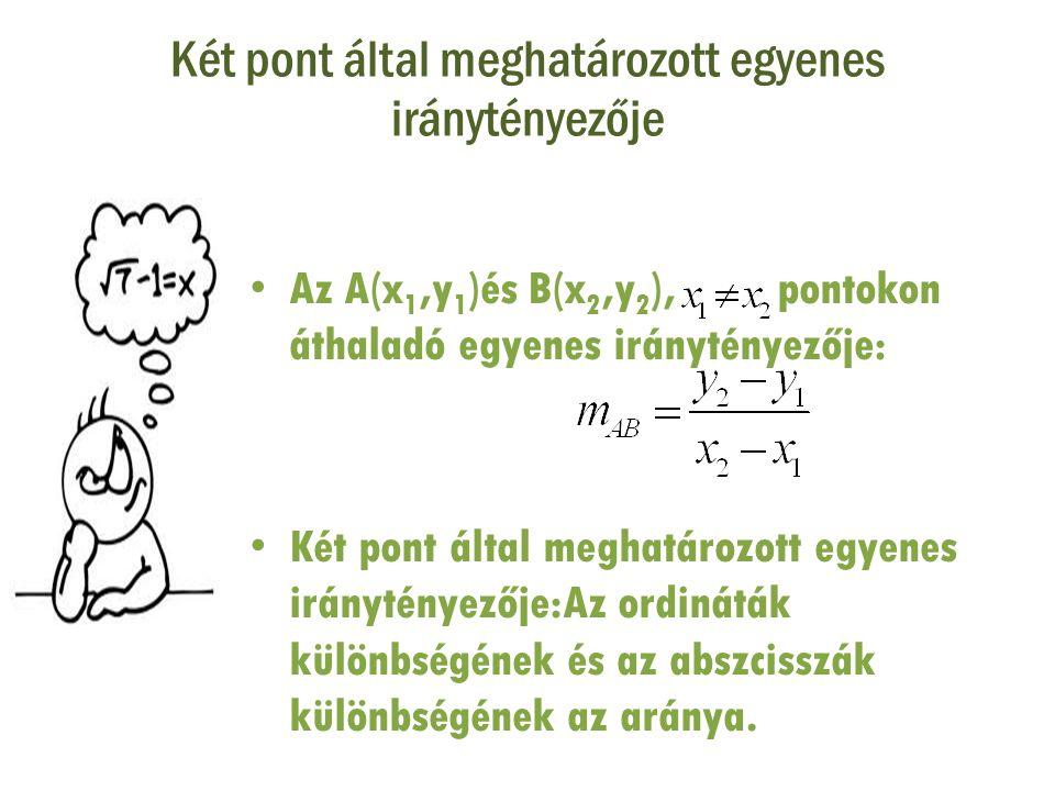 Két pont által meghatározott egyenes iránytényezője • Az A(x 1,y 1 )és B(x 2,y 2 ), pontokon áthaladó egyenes iránytényezője: • Két pont által meghatá