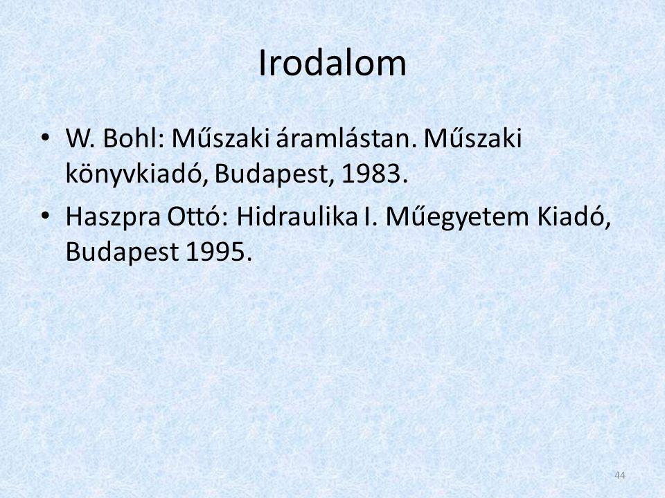 Irodalom • W.Bohl: Műszaki áramlástan. Műszaki könyvkiadó, Budapest, 1983.