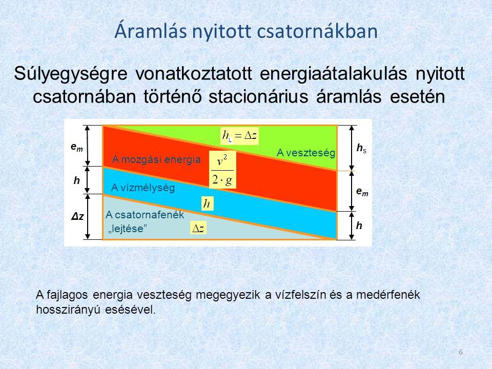Általános szabadfelszínű medreknél d helyett a hidraulikus sugarat használják, ami a nedvesített szelvényterület és kerület hányadosa: → d=4·R → Az összefüggést a szelvény-középsebességére rendezve: Áramlás nyitott csatornákban Bevezetve a Chézy-tényező : Bevezetve a relatív esés: A Chézy-képlet: 7