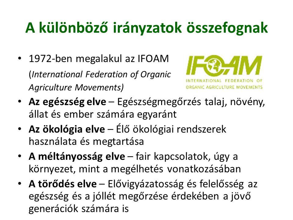 A különböző irányzatok összefognak • 1972-ben megalakul az IFOAM (International Federation of Organic Agriculture Movements) • Az egészség elve – Egés
