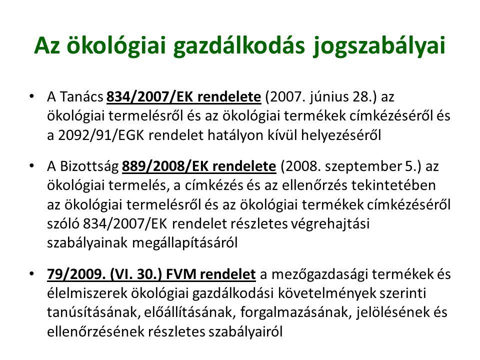 • A Tanács 834/2007/EK rendelete (2007. június 28.) az ökológiai termelésről és az ökológiai termékek címkézéséről és a 2092/91/EGK rendelet hatályon