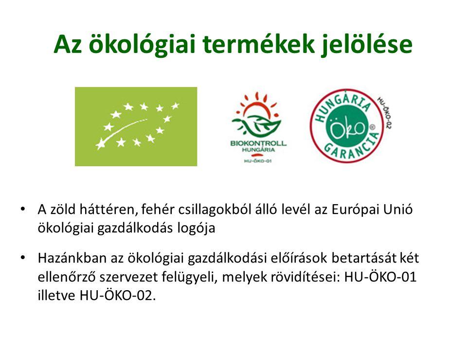 Az ökológiai termékek jelölése • A zöld háttéren, fehér csillagokból álló levél az Európai Unió ökológiai gazdálkodás logója • Hazánkban az ökológiai