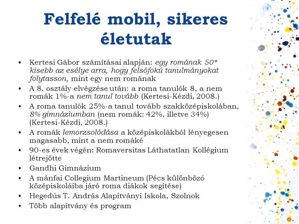 Felfelé mobil, sikeres életutak •Kertesi Gábor számításai alapján: egy romának 50* kisebb az esélye arra, hogy felsőfokú tanulmányokat folytasson, min