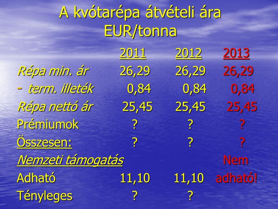 A kvótarépa átvételi ára EUR/tonna 2011 2012 2013 2011 2012 2013 Répa min. ár 26,29 26,29 26,29 - term. illeték 0,84 0,84 0,84 Répa nettó ár 25,45 25,