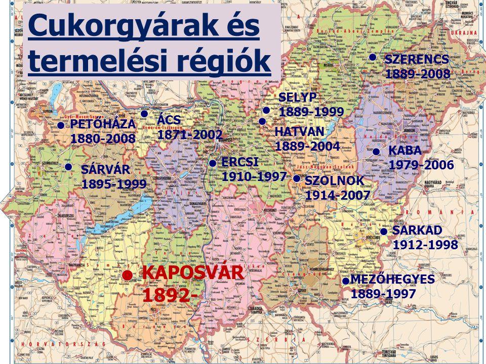 Cukor gyártók Magyarországon • 1991-1997: Privatizáció • 1997: Eastern Sugar, Agrana, Eridania Béghin-Say Eridania Béghin-Say • 2007: Eastern Sugar (Kaba) bezárt • 2008: Agrana (Petőháza), Nordzucker (Szolnok, Szerencs) bezárt • 2008-tól: maradt KAPOSVÁR