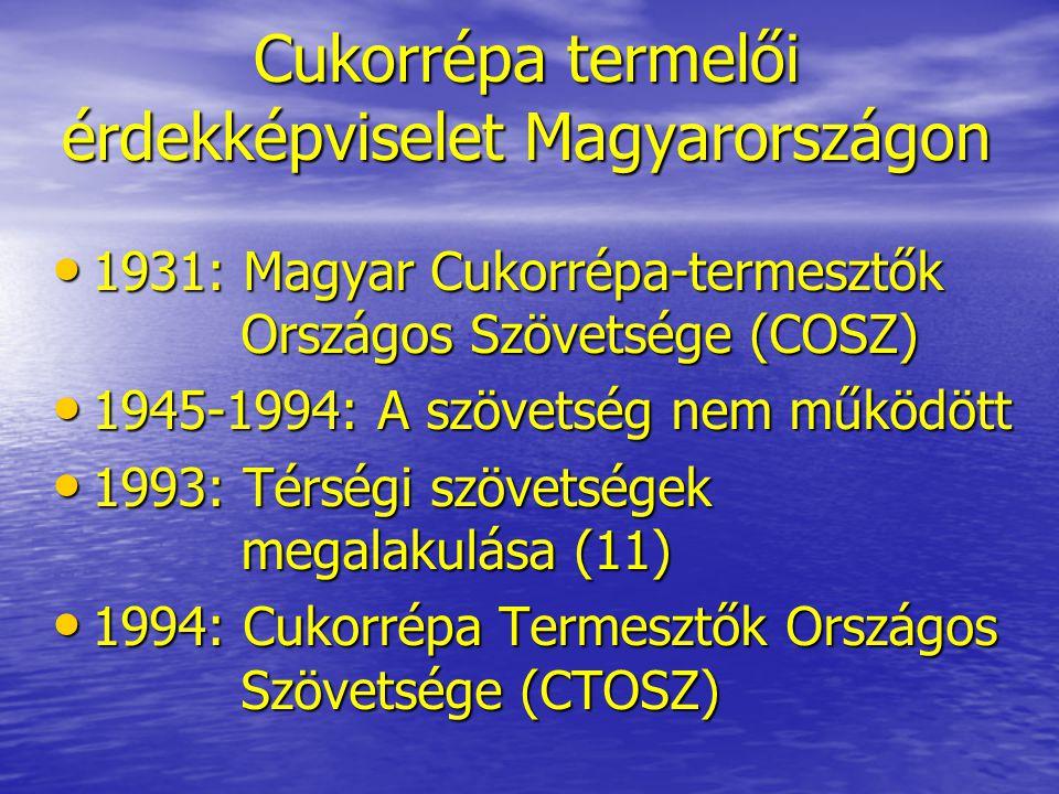 Cukorrépa termelői érdekképviselet Magyarországon • 1996: CIBE tagság • 2002-2003: Szállítási jogok kiosztása • 2004: EU tagság - Szakmaközi Egyezmény megkötése - Szakmaközi Egyezmény megkötése