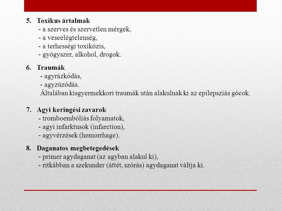 5.Toxikus ártalmak - a szerves és szervetlen mérgek, - a veseelégtelenség, - a terhességi toxikózis, - gyógyszer, alkohol, drogok. 6.Traumák - agyrázk
