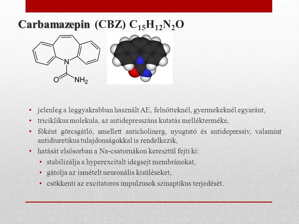 Carbamazepin Carbamazepin (CBZ) C 15 H 12 N 2 O • jelenleg a leggyakrabban használt AE, felnőtteknél, gyermekeknél egyaránt, • triciklikus molekula, a