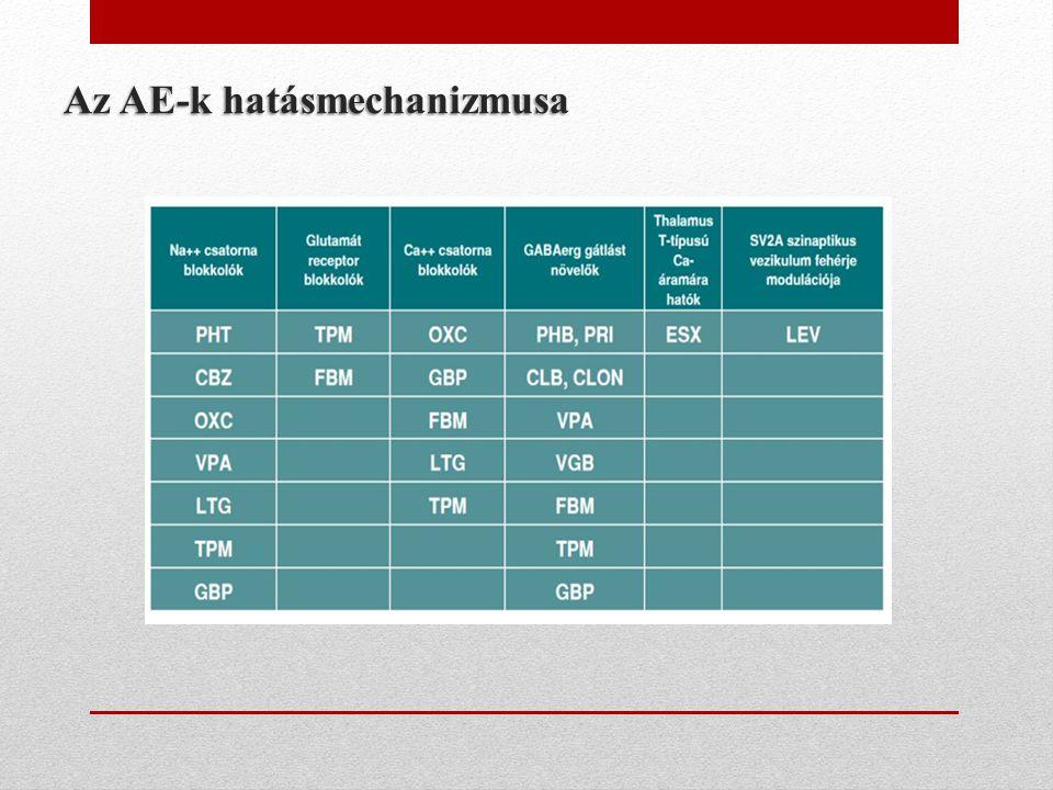 Az AE-k hatásmechanizmusa