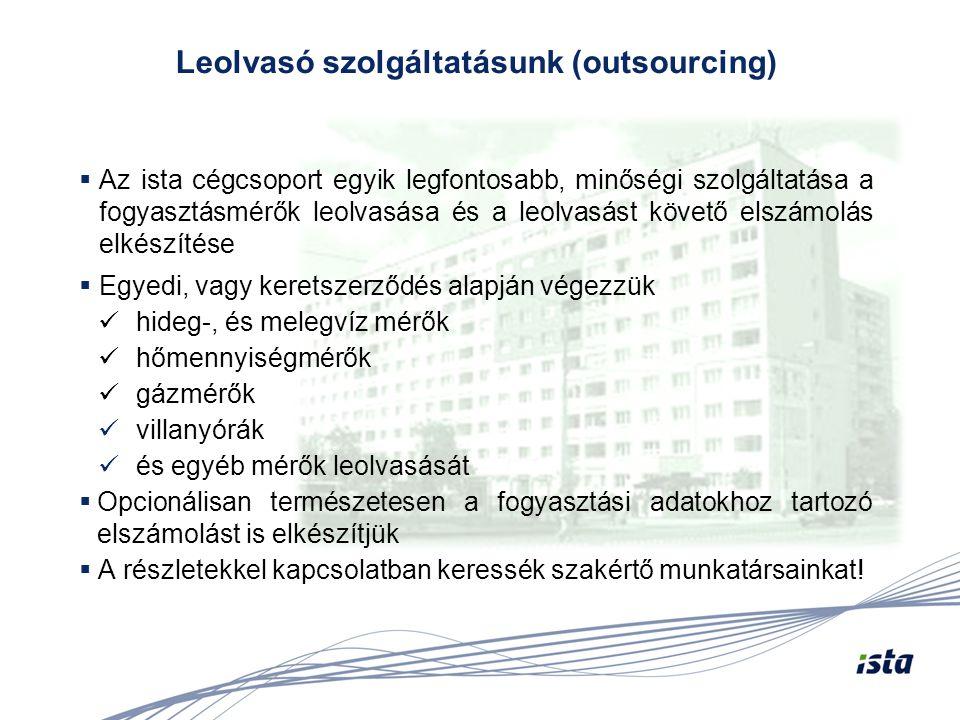 Az ista cégcsoport egyik legfontosabb, minőségi szolgáltatása a fogyasztásmérők leolvasása és a leolvasást követő elszámolás elkészítése  Egyedi, v