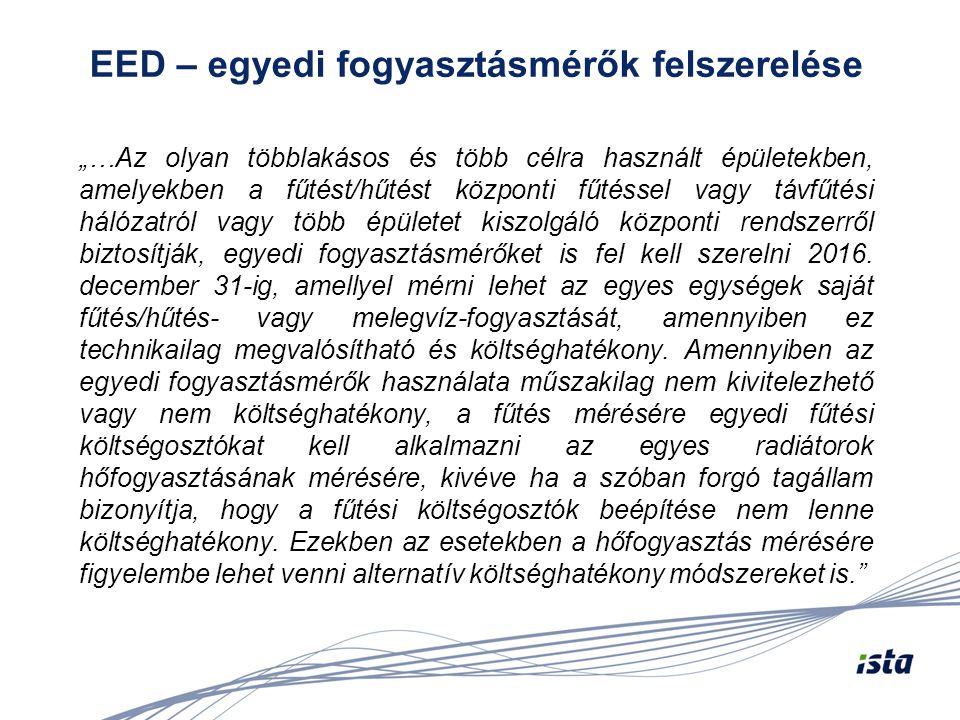 """EED – egyedi fogyasztásmérők felszerelése """"…Az olyan többlakásos és több célra használt épületekben, amelyekben a fűtést/hűtést központi fűtéssel vagy"""