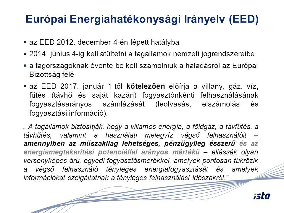 """EED – egyedi fogyasztásmérők felszerelése """"…Az olyan többlakásos és több célra használt épületekben, amelyekben a fűtést/hűtést központi fűtéssel vagy távfűtési hálózatról vagy több épületet kiszolgáló központi rendszerről biztosítják, egyedi fogyasztásmérőket is fel kell szerelni 2016."""