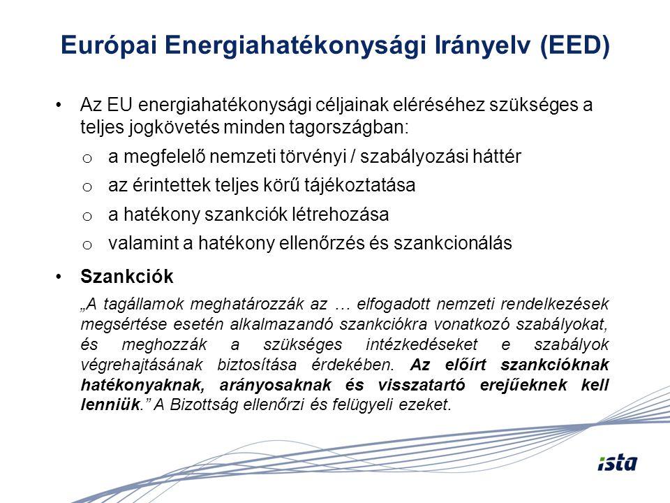 Európai Energiahatékonysági Irányelv (EED) •Az EU energiahatékonysági céljainak eléréséhez szükséges a teljes jogkövetés minden tagországban: o a megf