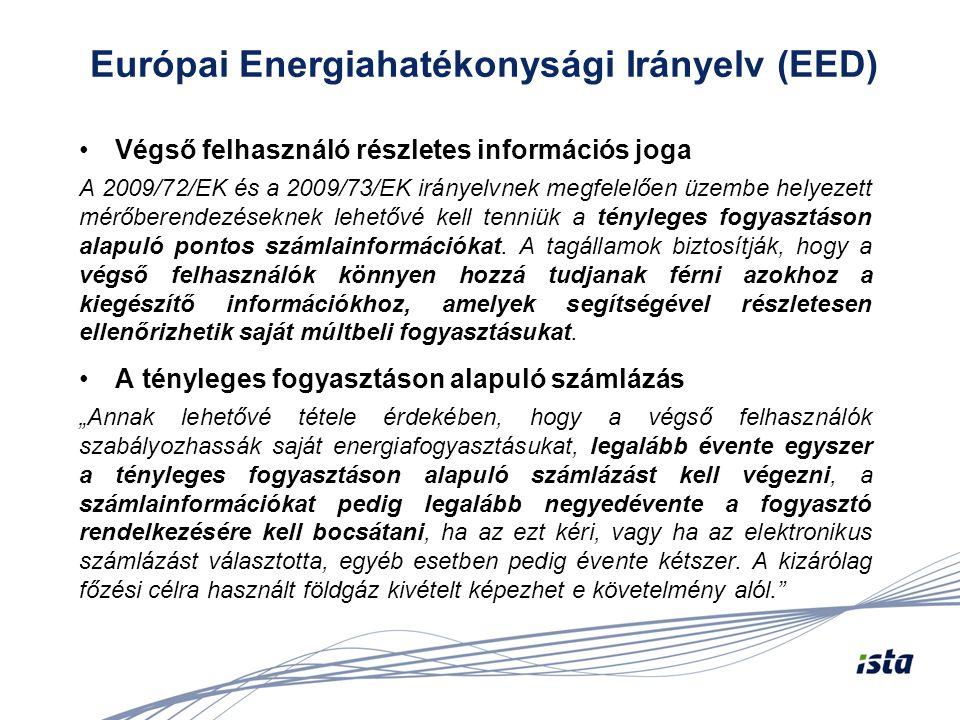 Európai Energiahatékonysági Irányelv (EED) •Végső felhasználó részletes információs joga A 2009/72/EK és a 2009/73/EK irányelvnek megfelelően üzembe h
