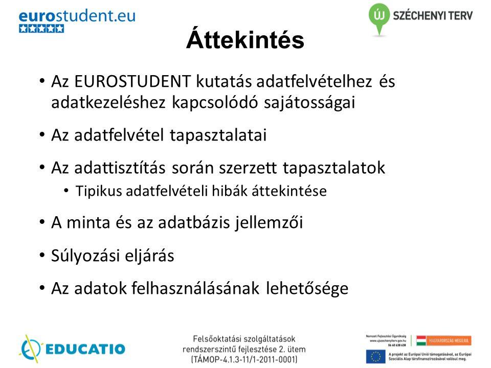 Áttekintés • Az EUROSTUDENT kutatás adatfelvételhez és adatkezeléshez kapcsolódó sajátosságai • Az adatfelvétel tapasztalatai • Az adattisztítás során