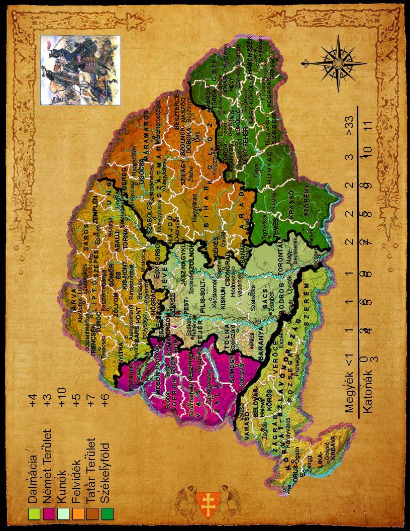 Megyék <1 0 1313 1616 1919 2 2525 2828 3131 >33 Katonák 3 4 5 6 7 8 9 10 11 Dalmácia +4 Német Terület +3 Kunok +10 Felvidék +5 Tatár Terület +7 Székel