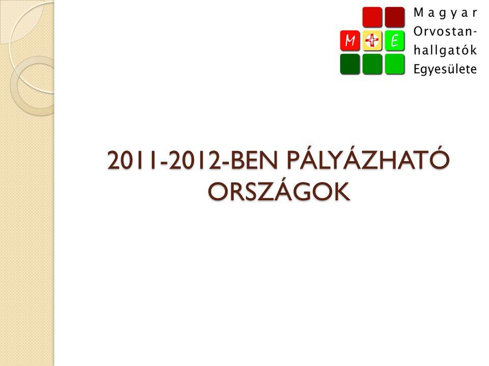 2011-2012-BEN PÁLYÁZHATÓ ORSZÁGOK