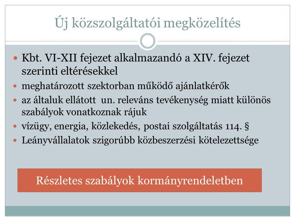 Új közszolgáltatói megközelítés  Kbt. VI-XII fejezet alkalmazandó a XIV. fejezet szerinti eltérésekkel  meghatározott szektorban működő ajánlatkérők