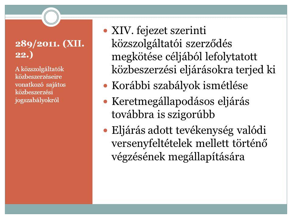 289/2011. (XII. 22.) A közszolgáltatók közbeszerzéseire vonatkozó sajátos közbeszerzési jogszabályokról  XIV. fejezet szerinti közszolgáltatói szerző