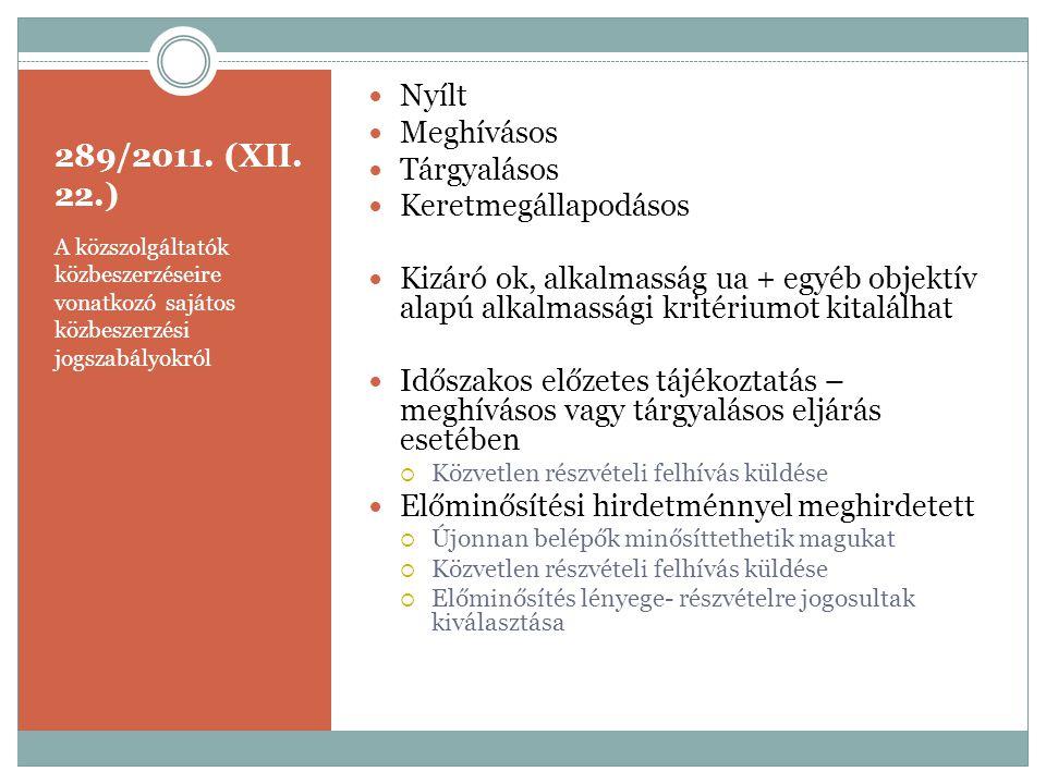 289/2011. (XII. 22.) A közszolgáltatók közbeszerzéseire vonatkozó sajátos közbeszerzési jogszabályokról  Nyílt  Meghívásos  Tárgyalásos  Keretmegá