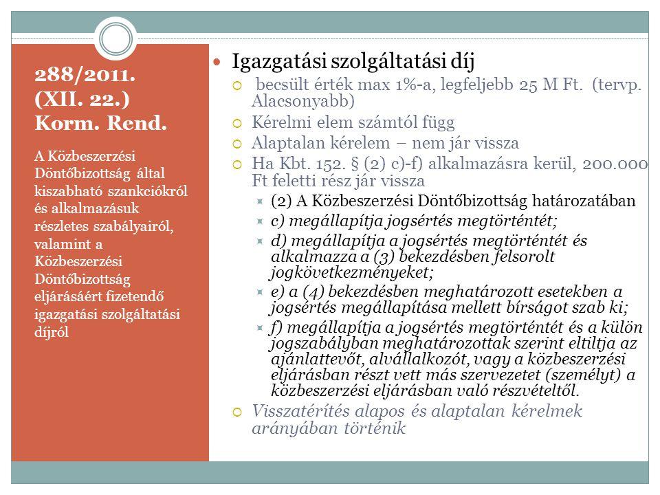 288/2011. (XII. 22.) Korm. Rend. A Közbeszerzési Döntőbizottság által kiszabható szankciókról és alkalmazásuk részletes szabályairól, valamint a Közbe
