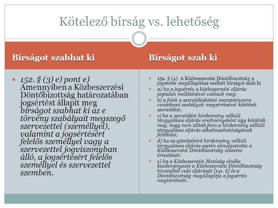 Bírságot szabhat ki Bírságot szab ki  152. § (3) e) pont e) Amennyiben a Közbeszerzési Döntőbizottság határozatában jogsértést állapít meg bírságot s