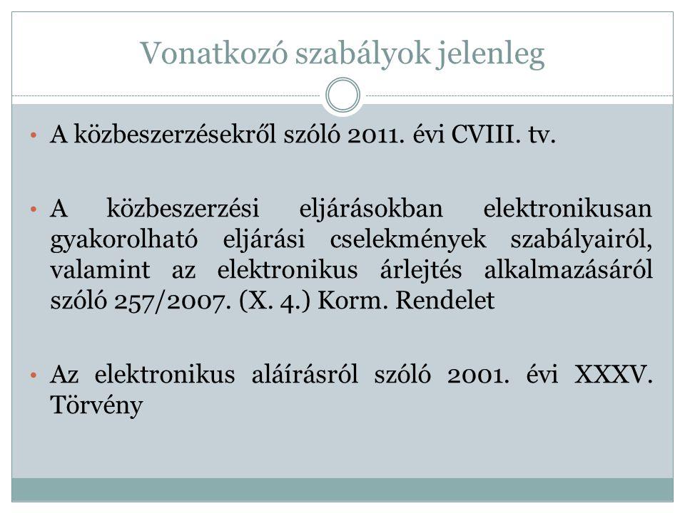 Vonatkozó szabályok jelenleg • A közbeszerzésekről szóló 2011. évi CVIII. tv. • A közbeszerzési eljárásokban elektronikusan gyakorolható eljárási csel