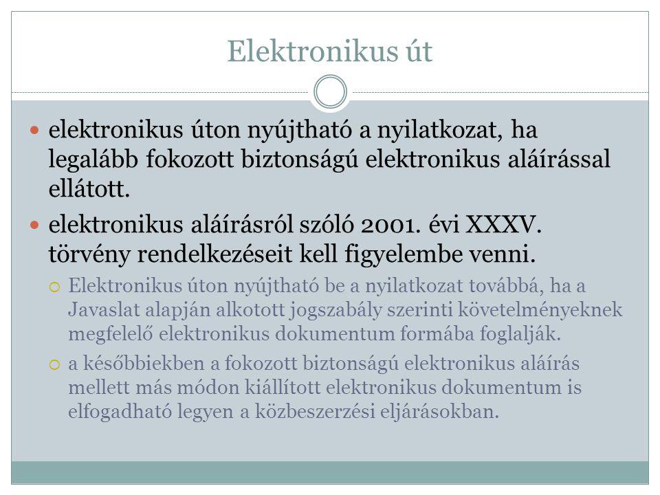Elektronikus út  elektronikus úton nyújtható a nyilatkozat, ha legalább fokozott biztonságú elektronikus aláírással ellátott.  elektronikus aláírásr