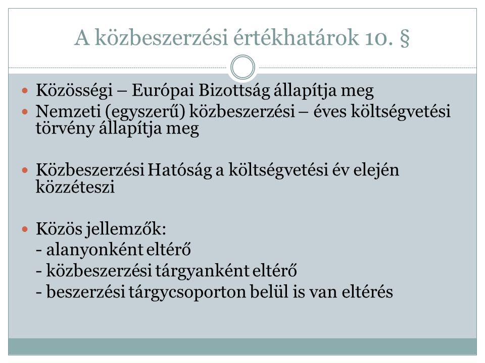 A közbeszerzési értékhatárok 10. §  Közösségi – Európai Bizottság állapítja meg  Nemzeti (egyszerű) közbeszerzési – éves költségvetési törvény állap