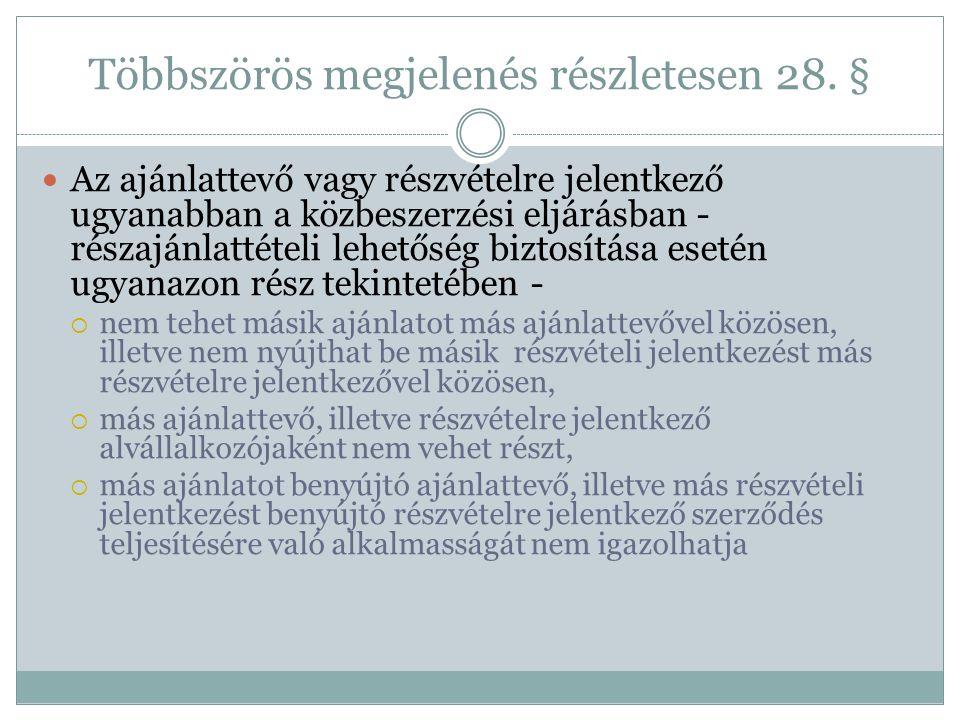 Többszörös megjelenés részletesen 28. §  Az ajánlattevő vagy részvételre jelentkező ugyanabban a közbeszerzési eljárásban - részajánlattételi lehetős