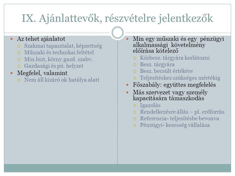 IX. Ajánlattevők, részvételre jelentkezők  Az tehet ajánlatot  Szakmai tapasztalat, képzettség  Műszaki és technikai feltétel  Min.bizt, körny.gaz
