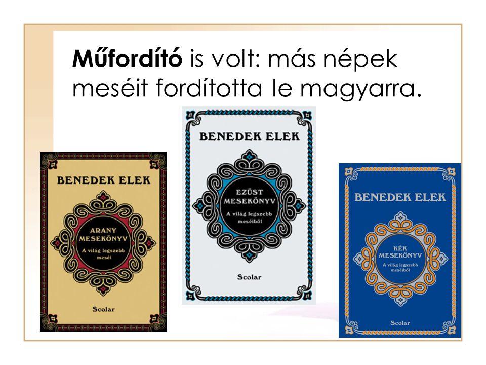 Műfordító is volt: más népek meséit fordította le magyarra.