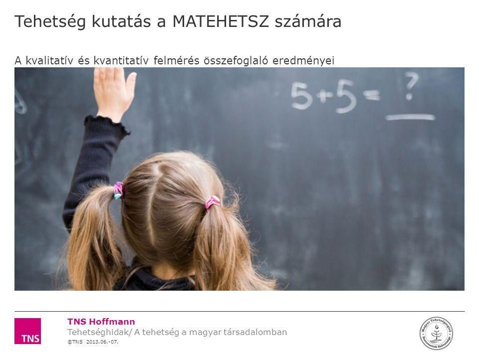 TNS Hoffmann ©TNS 2012 X AXIS LOWER LIMIT UPPER LIMIT CHART TOP Y AXIS LIMIT 32 Témaszám: 12F0000 Tehetség kutatás a MATEHETSZ számára LOGÓ SZÉLE Pesszimista hozzáállás jellemző Siker kizárólag külföldön lehetséges, a tehetség Magyarországon nem érték  Egybehangzó vélemény, hogy Magyarországon nincsenek meg sem anyagi sem szakmai szempontból azok a lehetőségek, hogy a tehetség kibontakoztatása igazán sikeres legyen  Külföldhöz képest hátrányból indulnak a magyarok  Az az elképzelés él, hogy külföldön sokkal alázatosabban és nagyobb odafigyeléssel fordulnak a tehetséges gyerekek neveltetése/taníttatása iránt, ezáltal nagyobb kifutási lehetőséget, nagyobb ív bejárását biztosítják a számukra A tehetség lehetőségei Magyarországon Nem sok lehetősége van ma Magyarországon, mert itthon ez nem akkora érték (tanuló) Magyarországon csak akkor értékelik az embert, amikor már elment.