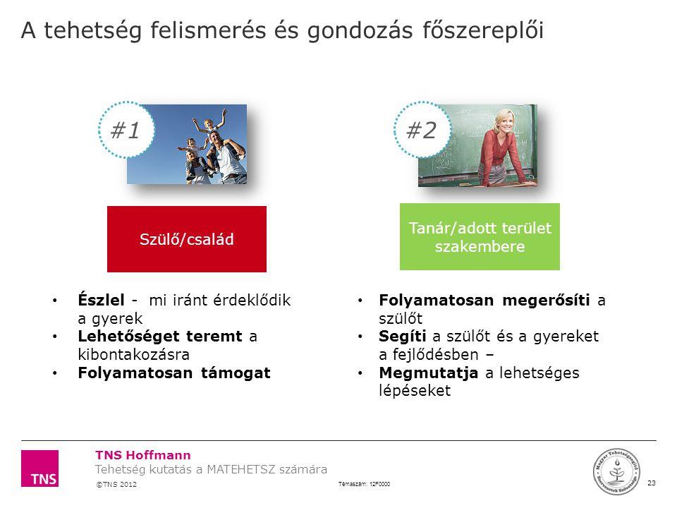 TNS Hoffmann ©TNS 2012 X AXIS LOWER LIMIT UPPER LIMIT CHART TOP Y AXIS LIMIT 23 Témaszám: 12F0000 Tehetség kutatás a MATEHETSZ számára LOGÓ SZÉLE A te
