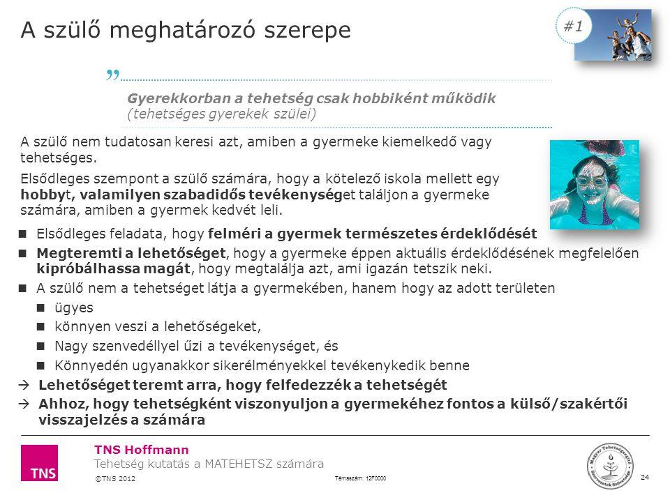 TNS Hoffmann ©TNS 2012 X AXIS LOWER LIMIT UPPER LIMIT CHART TOP Y AXIS LIMIT 24 Témaszám: 12F0000 Tehetség kutatás a MATEHETSZ számára LOGÓ SZÉLE A sz