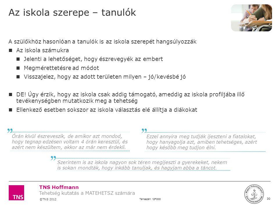 TNS Hoffmann ©TNS 2012 X AXIS LOWER LIMIT UPPER LIMIT CHART TOP Y AXIS LIMIT 30 Témaszám: 12F0000 Tehetség kutatás a MATEHETSZ számára LOGÓ SZÉLE Az i