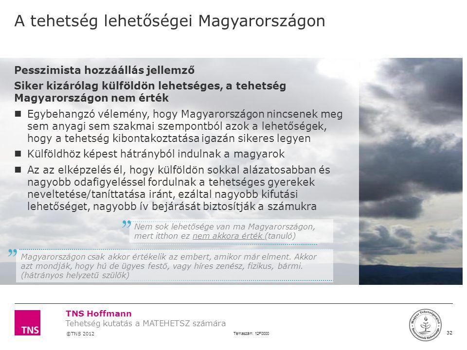 TNS Hoffmann ©TNS 2012 X AXIS LOWER LIMIT UPPER LIMIT CHART TOP Y AXIS LIMIT 32 Témaszám: 12F0000 Tehetség kutatás a MATEHETSZ számára LOGÓ SZÉLE Pess