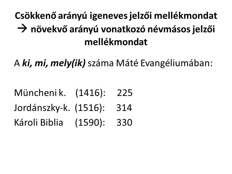 Csökkenő arányú igeneves jelzői mellékmondat  növekvő arányú vonatkozó névmásos jelzői mellékmondat A ki, mi, mely(ik) száma Máté Evangéliumában: Müncheni k.