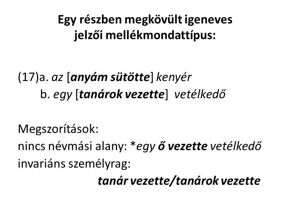 Egy részben megkövült igeneves jelzői mellékmondattípus: (17)a.