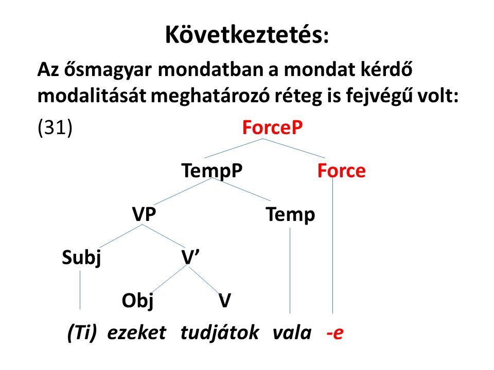 Következtetés : Az ősmagyar mondatban a mondat kérdő modalitását meghatározó réteg is fejvégű volt: (31) ForceP TempP Force VP Temp Subj V' Obj V (Ti) ezeket tudjátok vala -e