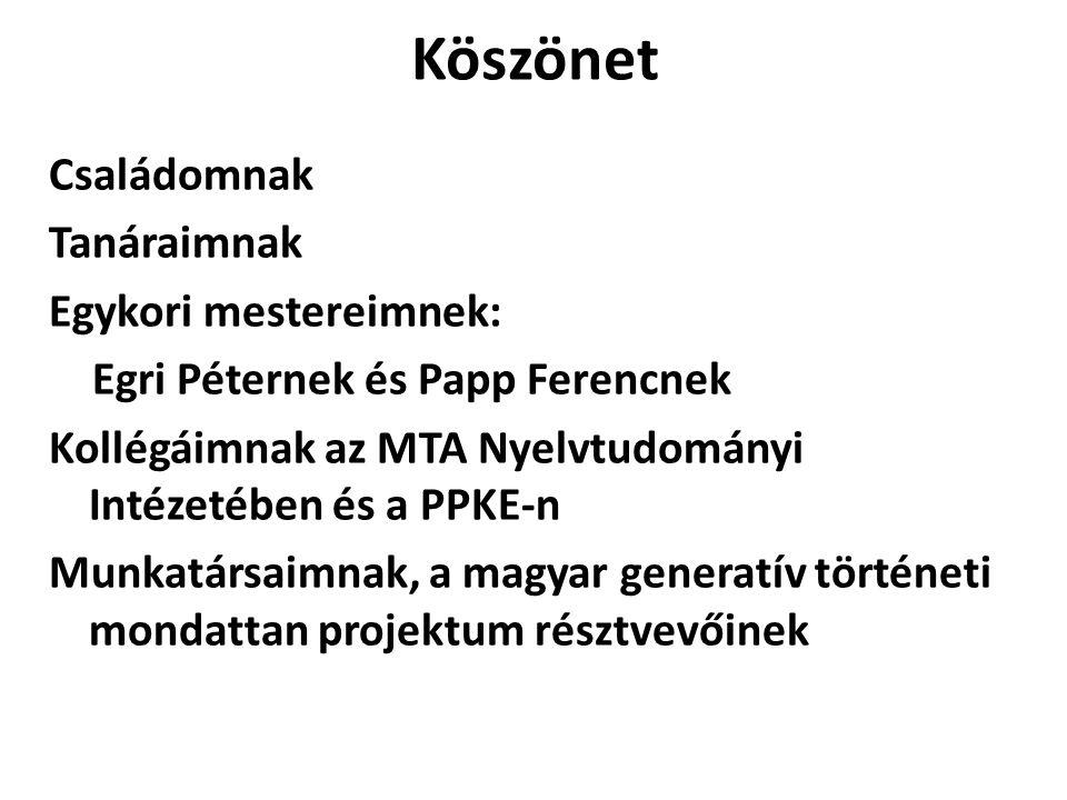 Köszönet Családomnak Tanáraimnak Egykori mestereimnek: Egri Péternek és Papp Ferencnek Kollégáimnak az MTA Nyelvtudományi Intézetében és a PPKE-n Munkatársaimnak, a magyar generatív történeti mondattan projektum résztvevőinek
