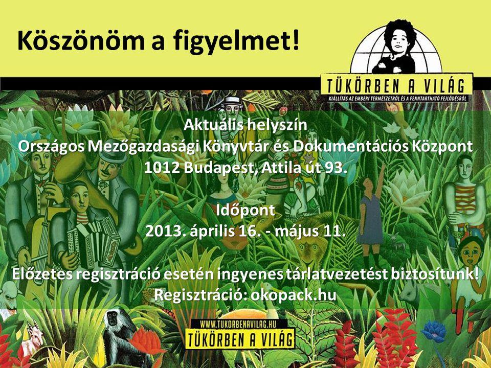 Köszönöm a figyelmet! Aktuális helyszín Országos Mezőgazdasági Könyvtár és Dokumentációs Központ 1012 Budapest, Attila út 93. Időpont 2013. április 16