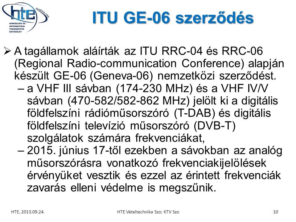 ITU GE-06 szerződés  A tagállamok aláírták az ITU RRC-04 és RRC-06 (Regional Radio-communication Conference) alapján készült GE-06 (Geneva-06) nemzetközi szerződést.