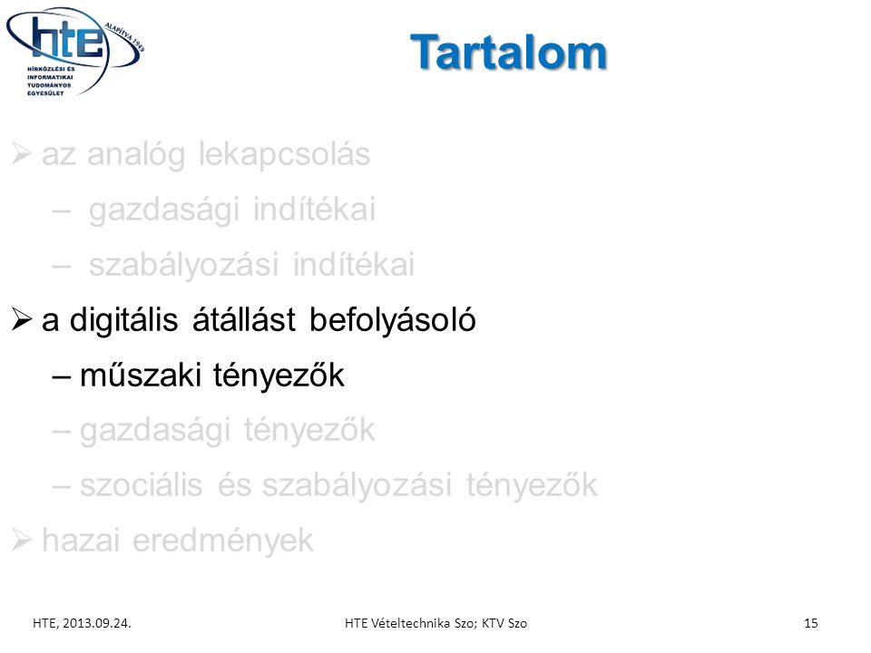 Tartalom  az analóg lekapcsolás – gazdasági indítékai – szabályozási indítékai  a digitális átállást befolyásoló –műszaki tényezők –gazdasági tényezők –szociális és szabályozási tényezők  hazai eredmények HTE, 2013.09.24.HTE Vételtechnika Szo; KTV Szo15
