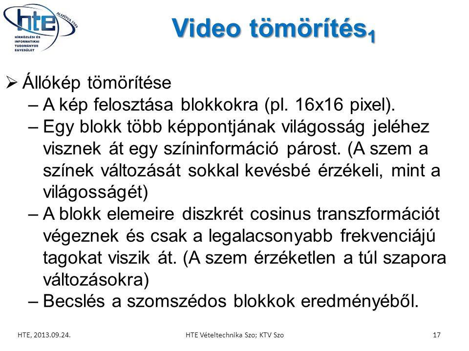 Video tömörítés 1 HTE, 2013.09.24.HTE Vételtechnika Szo; KTV Szo17  Állókép tömörítése –A kép felosztása blokkokra (pl.