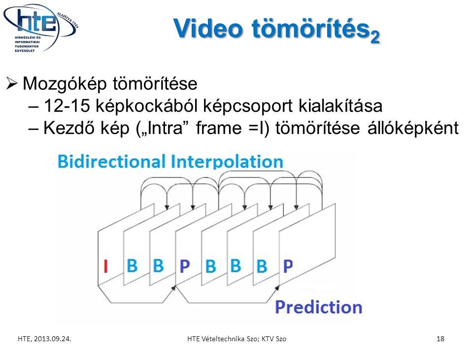"""Video tömörítés 2  Mozgókép tömörítése –12-15 képkockából képcsoport kialakítása –Kezdő kép (""""Intra frame =I) tömörítése állóképként HTE, 2013.09.24.HTE Vételtechnika Szo; KTV Szo18"""